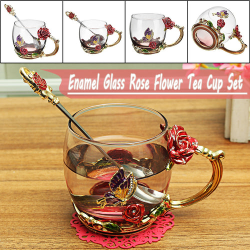 Enamel Glass Rose Flower Butterfly Tea Cup Spoon Set Party Cup Wedding Gift