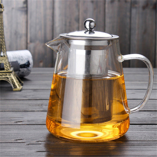 450ml Heat Resistant Clear Glass Teapot With Infuser Coffee Tea Leaf Herbal Pot