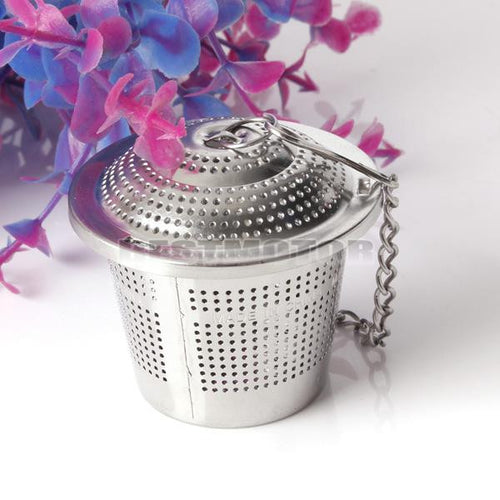 Tea Strainer With Chain Steel Herbal Ball Tea Herbal Spice Fliter Infuser Silver