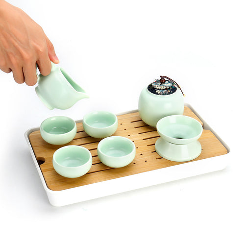 Portable Ceramic Kung Fu Matcha Tea Ceremony Cup Teapot Teacups Set