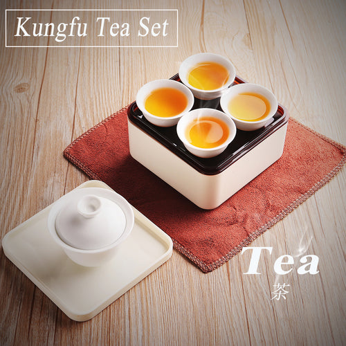 Mini Portable Travel Chinese Kungfu Tea Set with Teapot Teacups Tray Towel Box