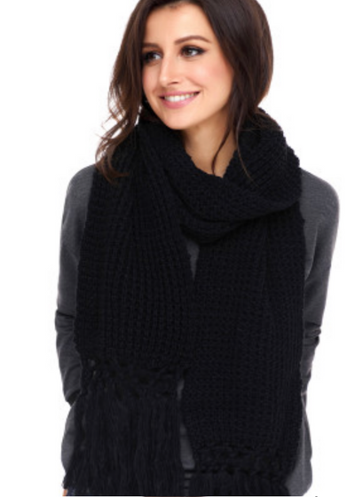 Chunky Knit Tassel Scarf - Clothed in Grace