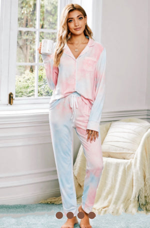 Tie Dye Button Up Pjs - Clothed in Grace