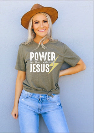Power in the name of Jesus tee - Clothed in Grace