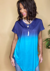 Blue on Blue Color Block Top - Clothed in Grace