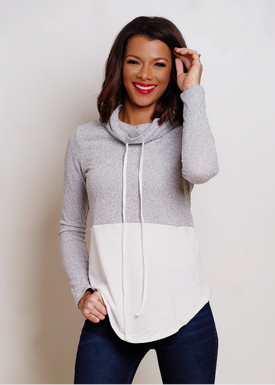 Gray and White color block sweater - Clothed in Grace