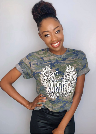 Camouflage Glory carrier Tee - Clothed in Grace