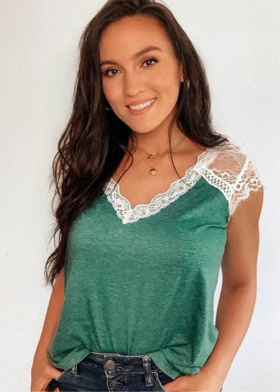 Ever green lace top - Clothed in Grace
