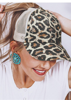Leopard ponytail hat - Clothed in Grace