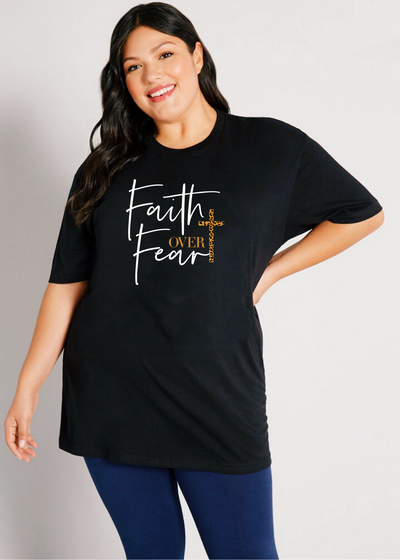 Faith over Fear tee - plus size - Clothed in Grace