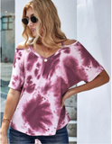 Fuchsia Tie Dye Shoulder top - Clothed in Grace