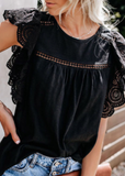 Fly Away Flutter Sleeve -Black blouse - Clothed in Grace
