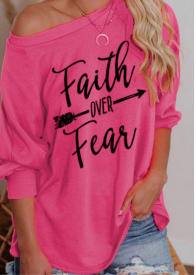 Faith over Fear Slouchy Top - Clothed in Grace