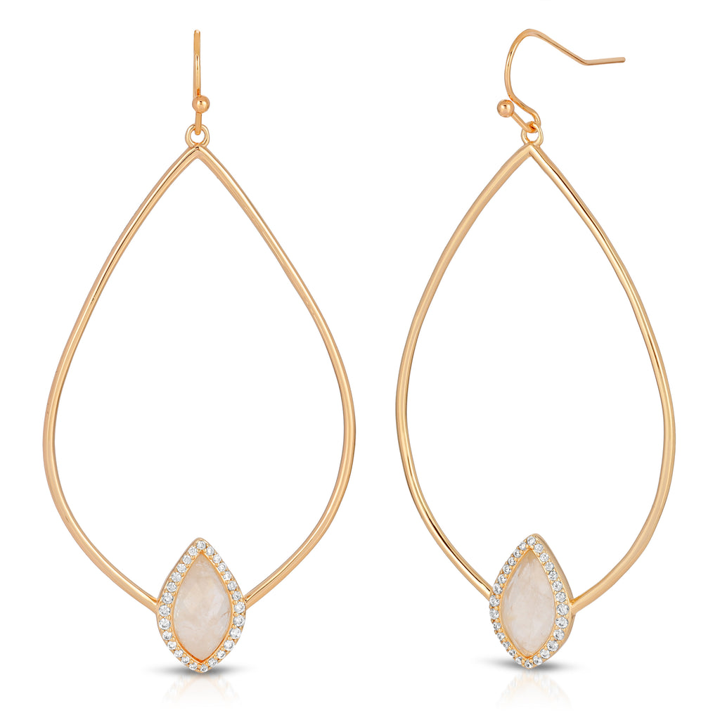 Soleil Gold Monocle with Tempest Moonstone Earrings