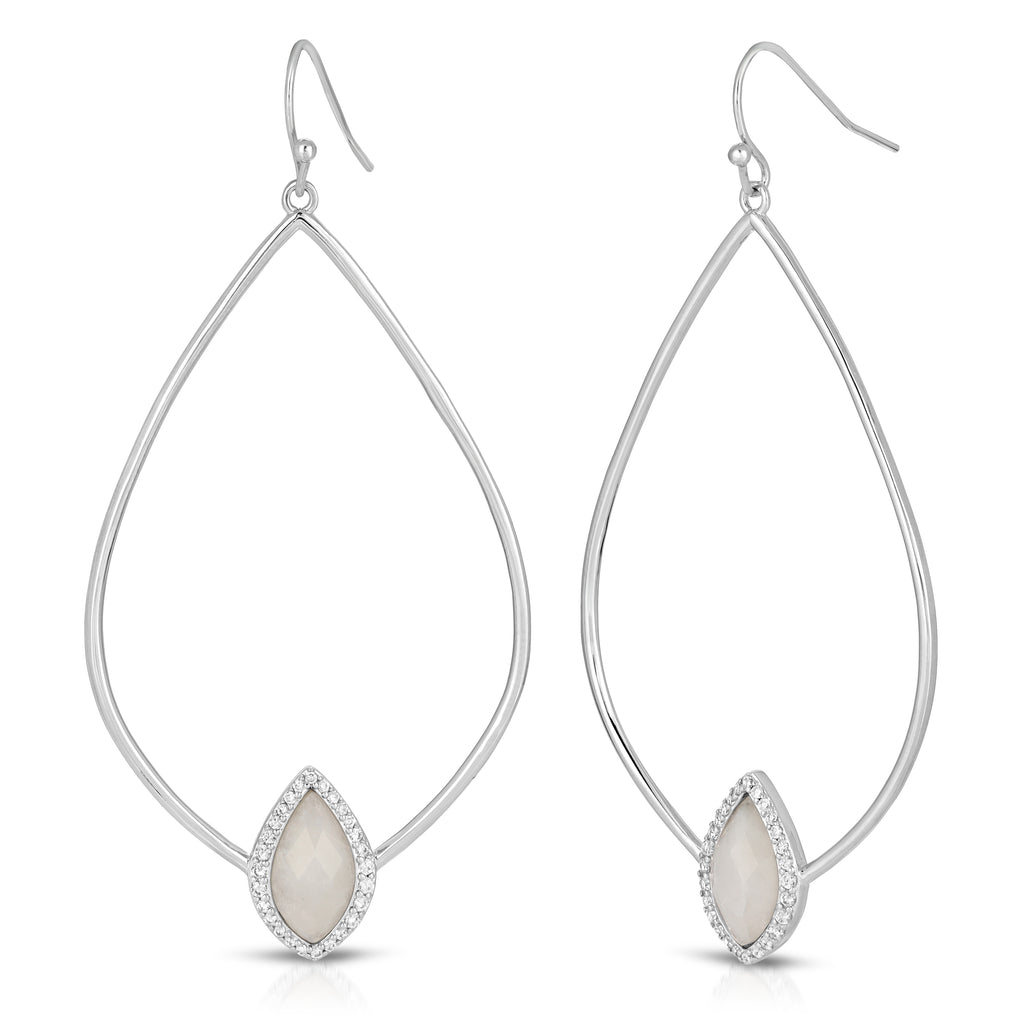 Soleil Silver Monocle with Tempest Moonstone Earrings
