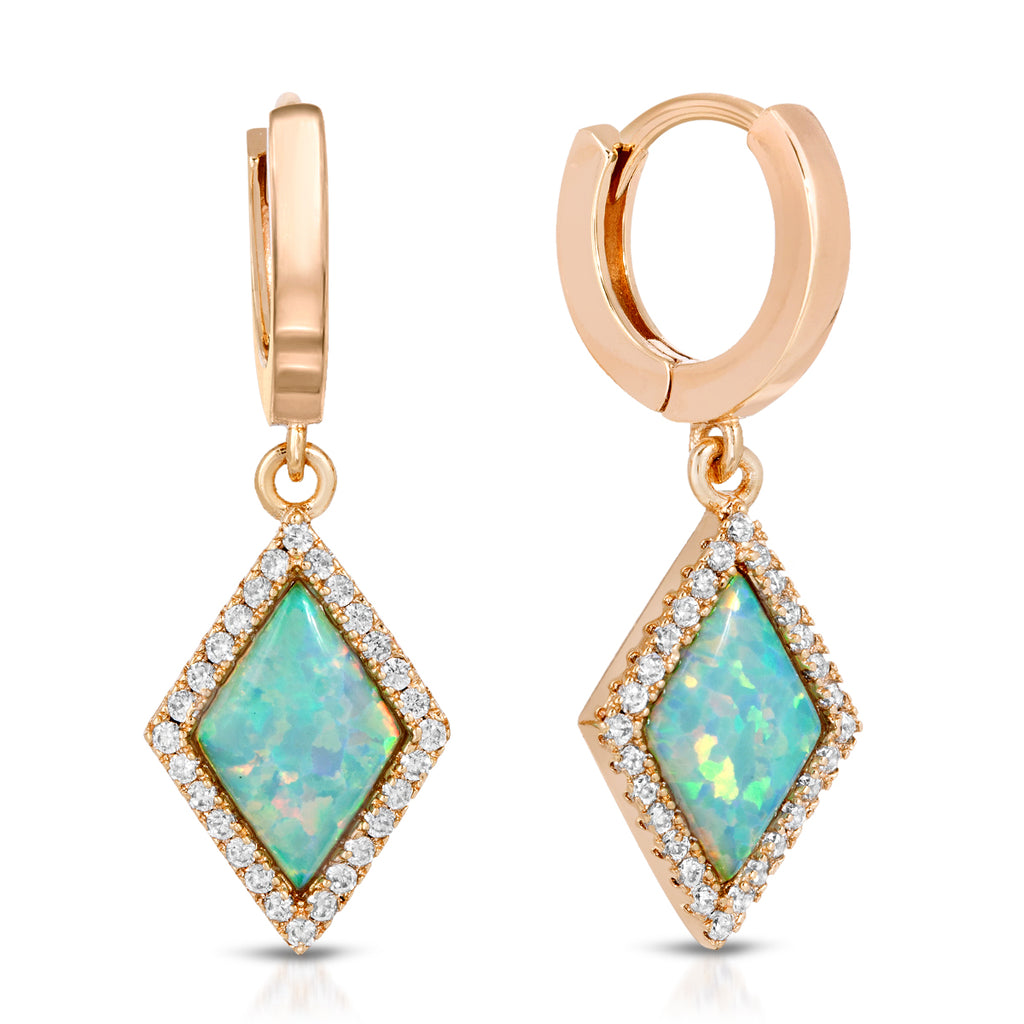 Cleo Gold Blue Opal Earrings
