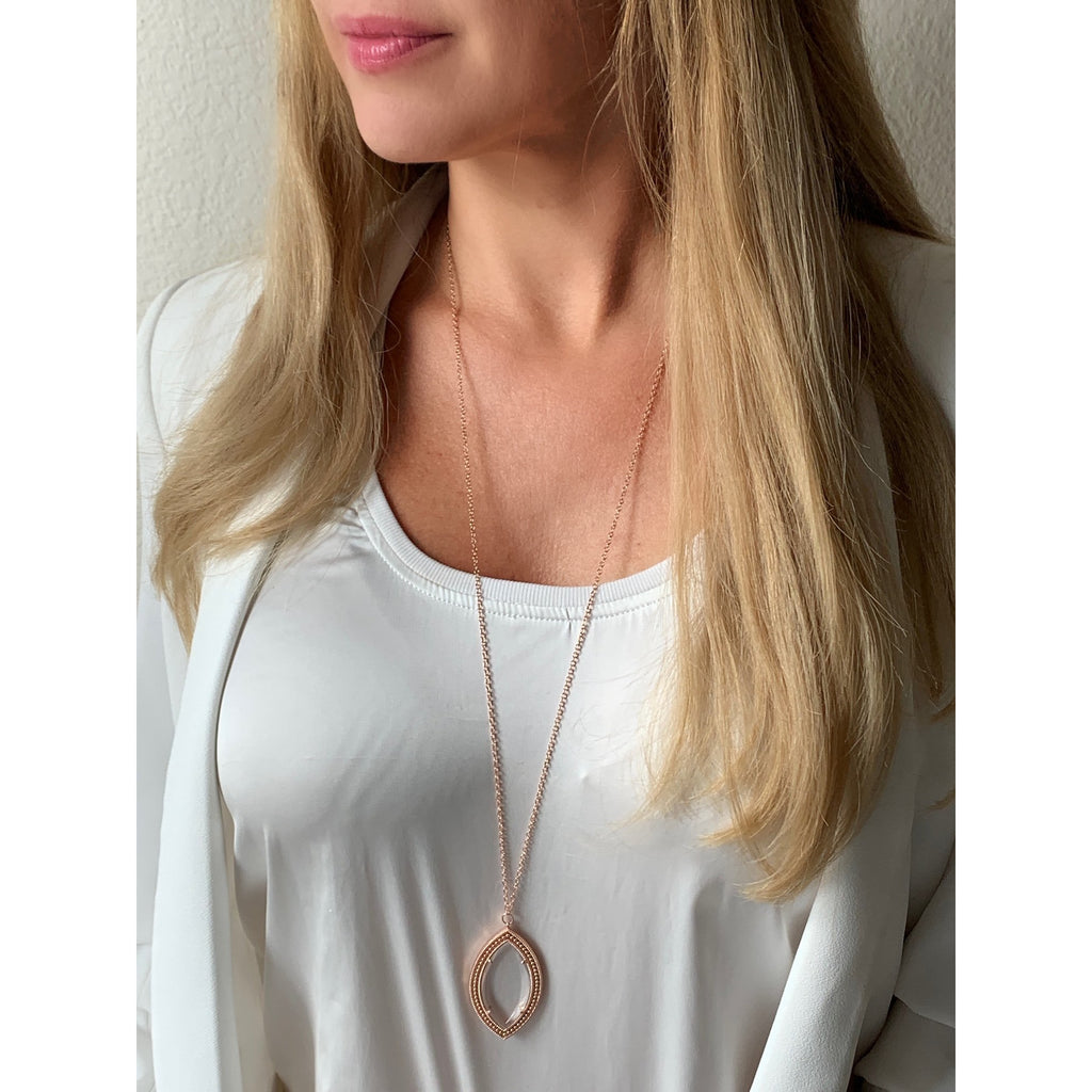 Dakota Rose Gold Magnifier Pendant Necklace