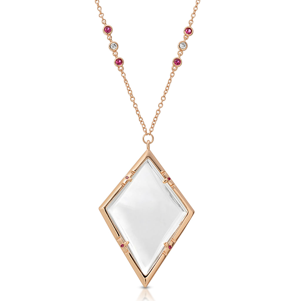 Emmeline Rose Gold Ruby - Magnifier Pendant Necklace