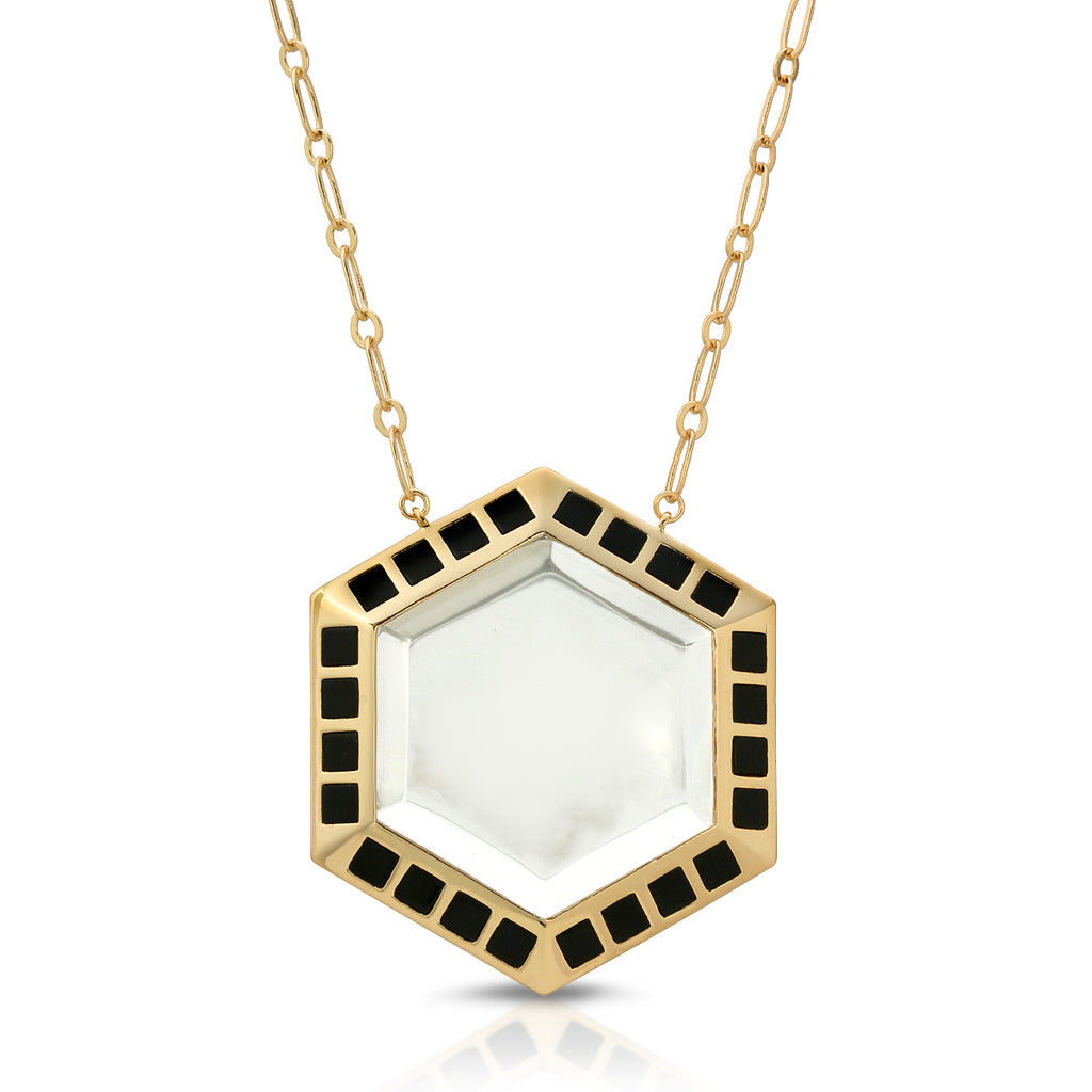 Isis Gold Black Onyx - Magnifier Pendant Necklace