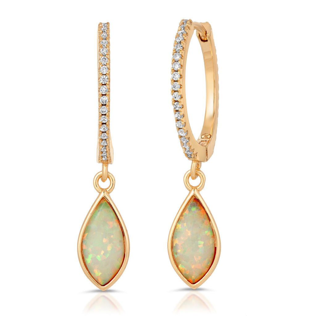 Maya Gold White Opal Monocle with Lola Gold White Opal Earrings