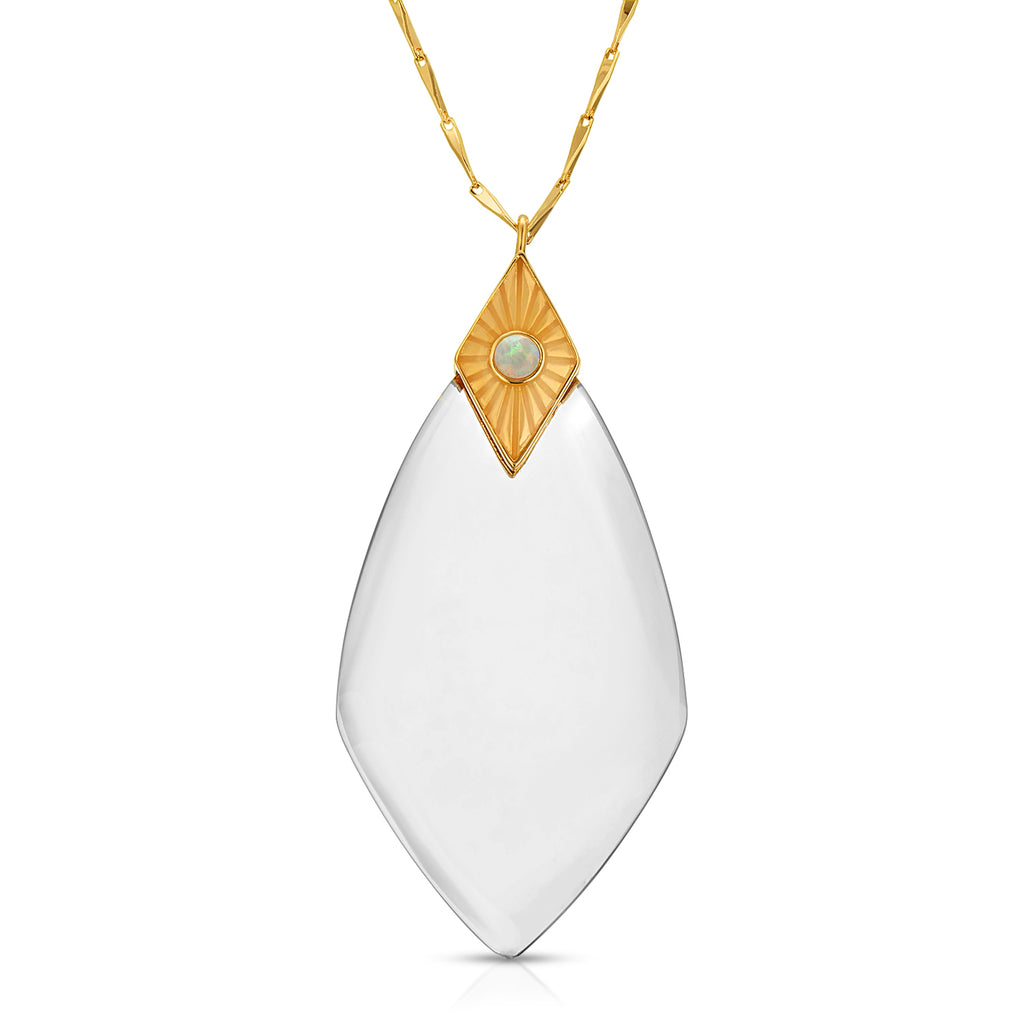 Maya Gold White Opal - Magnifier Pendant Necklace