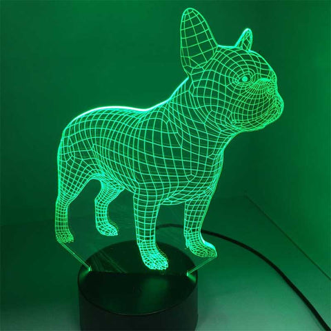 3D French Bulldog LED Night Lamp with 7 Colors