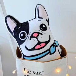 Adore-A-Bull White French Bulldog Shaped Pillow