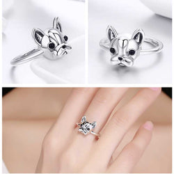 Darling Frenchie 925 Sterling Silver French Bulldog Ring
