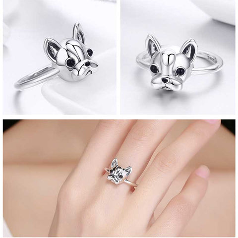 Image of Darling Frenchie 925 Sterling Silver French Bulldog Ring