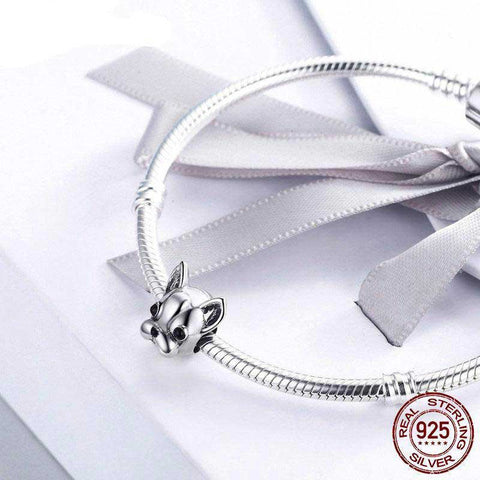 French Bulldog 925 Sterling Silver Charm Bead