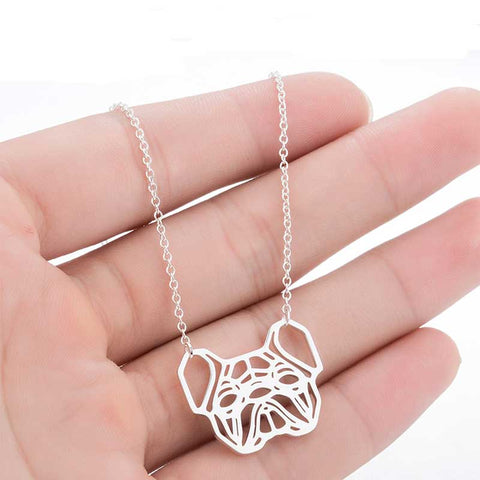 Image of Silver Geometric French Bulldog Necklace