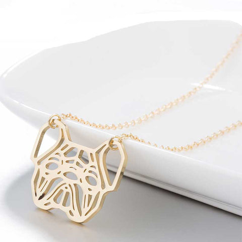 Image of Gold Geometric French Bulldog Necklace