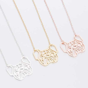 Silver, yellow gold, rose gold Geometric French Bulldog Necklace