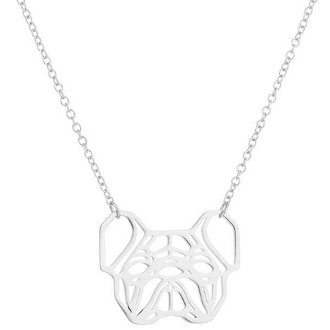 Silver Geometric French Bulldog Necklace
