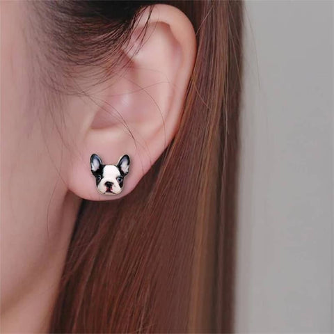 Image of Printed Frenchie Stud Earrings