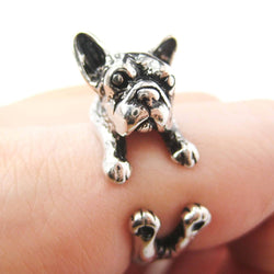 Snuggling French Bulldog Adjustable Ring