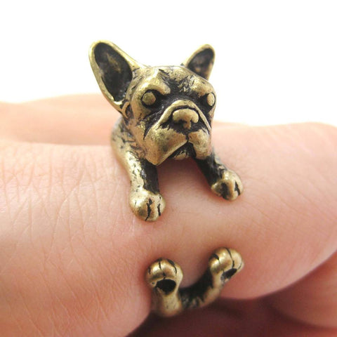 Image of Snuggling French Bulldog Adjustable Ring