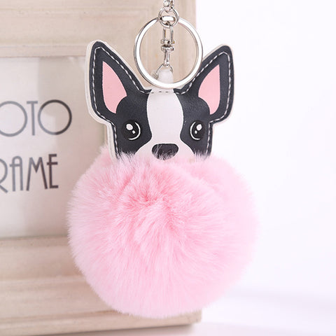 Fluffy French Bulldog Pompom Keychain