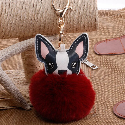 Image of Fluffy French Bulldog Pompom Keychain