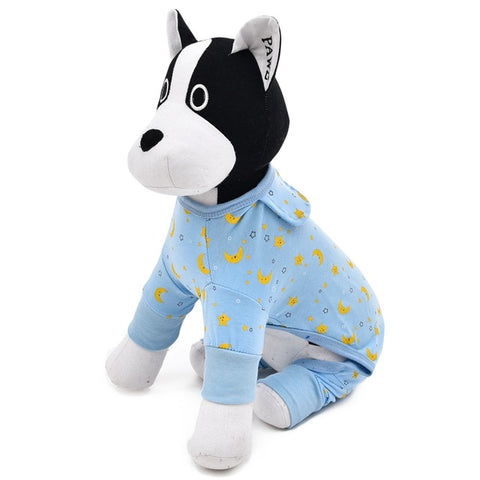 Image of French Bulldog blue moon Small Dog Puppy Cute onesie dog Pajamas with feet Pawsome Frenchies