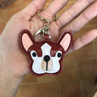 Squishy Face Leather Keychain