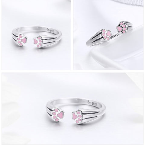 Image of Pink Paws 925 Sterling Silver Ring