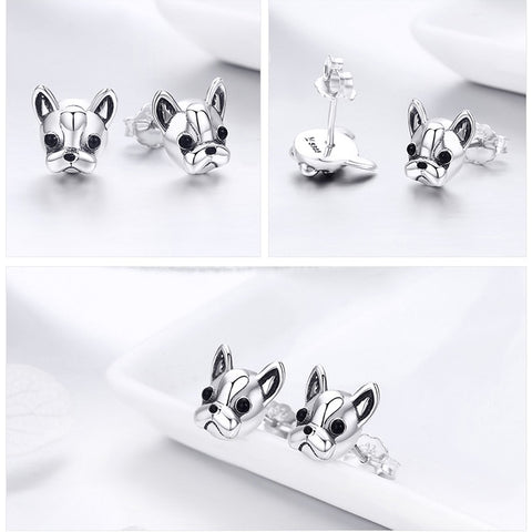 Image of Frenchie Diva 925 Sterling Silver Stud Earrings