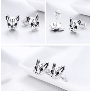 Frenchie Diva 925 Sterling Silver Stud Earrings