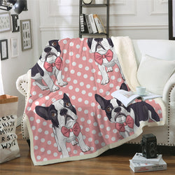 Cuddly Pink French Bulldog Design Blanket