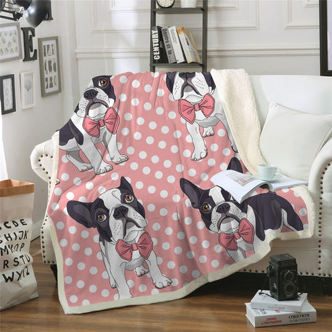 Image of Cuddly Pink French Bulldog Design Blanket