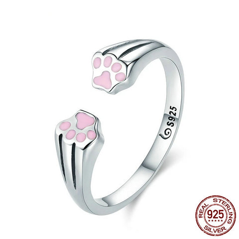 Pink Paws 925 Sterling Silver Ring
