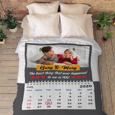 """The Best Thing That Ever Happened To Me Is You"" Customized Blanket For Couple"