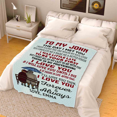 """The Day I Met You"" Customized Blanket For Couple"