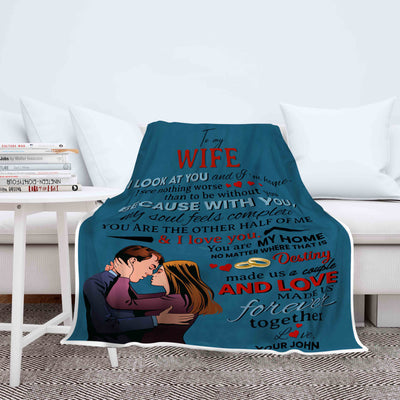 """To My Wife""- You Are The Other Half Of Me Customized Blanket"